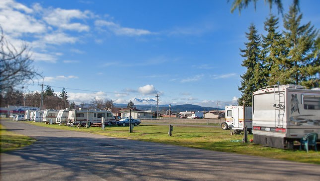 Sequim West Inn RV park with view of the Olympic Mountains
